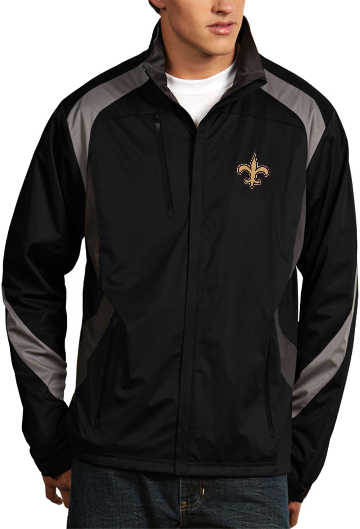 Antigua Men's New Orleans Saints Tempest Black Full-Zip Jacket