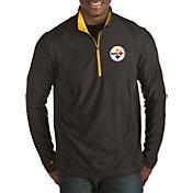 Antigua Men's Pittsburgh Steelers Tempo Black Quarter-Zip Pullover