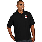 Antigua Men's Pittsburgh Steelers Pique Xtra-Lite Black Polo