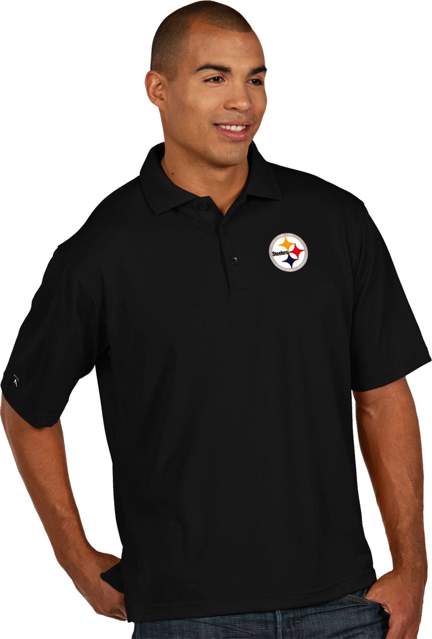 Antigua Men's Pittsburgh Steelers Pique Xtra-Lite Black Polo