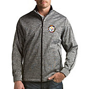 Antigua Men's Pittsburgh Steelers Quick Snap Logo Black Heather Golf Jacket