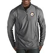 Antigua Men's Pittsburgh Steelers Quick Snap Logo Tempo Grey Quarter-Zip Pullover