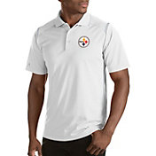 Antigua Men's Pittsburgh Steelers Merit White Xtra-Lite Polo