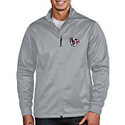 Antigua Men's Houston Texans Quick Snap Logo Silver Golf Jacket