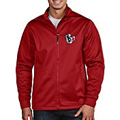 Antigua Men's Houston Texans Quick Snap Logo Red Golf Jacket