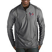 Antigua Men's Houston Texans Quick Snap Logo Tempo Grey Quarter-Zip Pullover