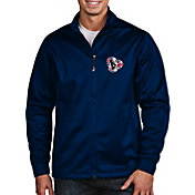 Antigua Men's Houston Texans Quick Snap Logo Navy Golf Jacket