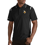 Antigua Men's Minnesota Vikings Merit Black Xtra-Lite Polo