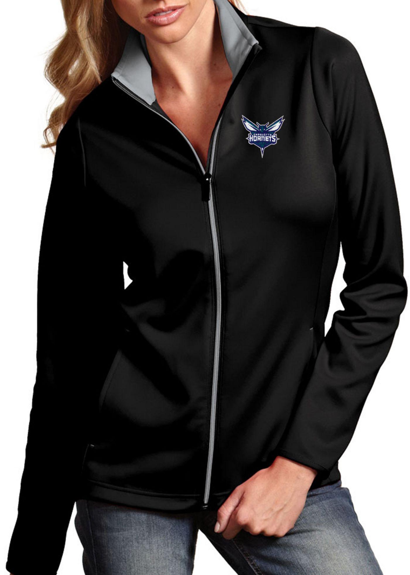 Antigua Women's Charlotte Hornets Leader Black Full-Zip Fleece