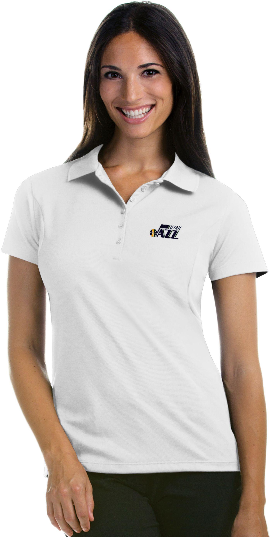 Antigua Women's Utah Jazz Xtra-Lite White Pique Performance Polo