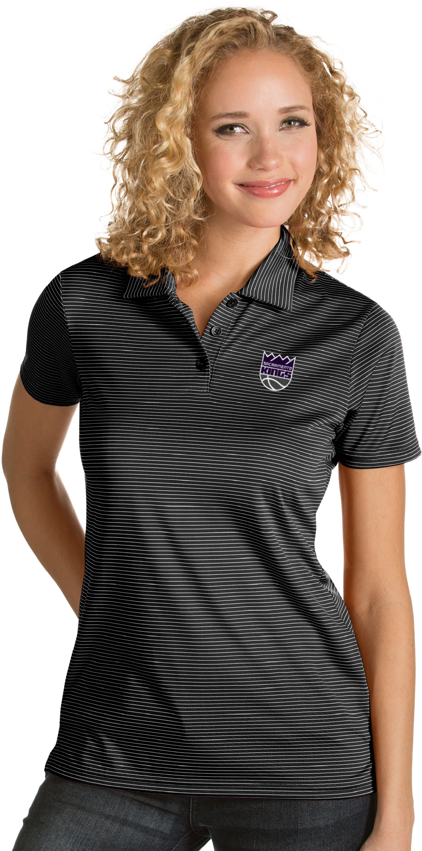 Antigua Women's Sacramento Kings Xtra-Lite Black Quest Performance Polo