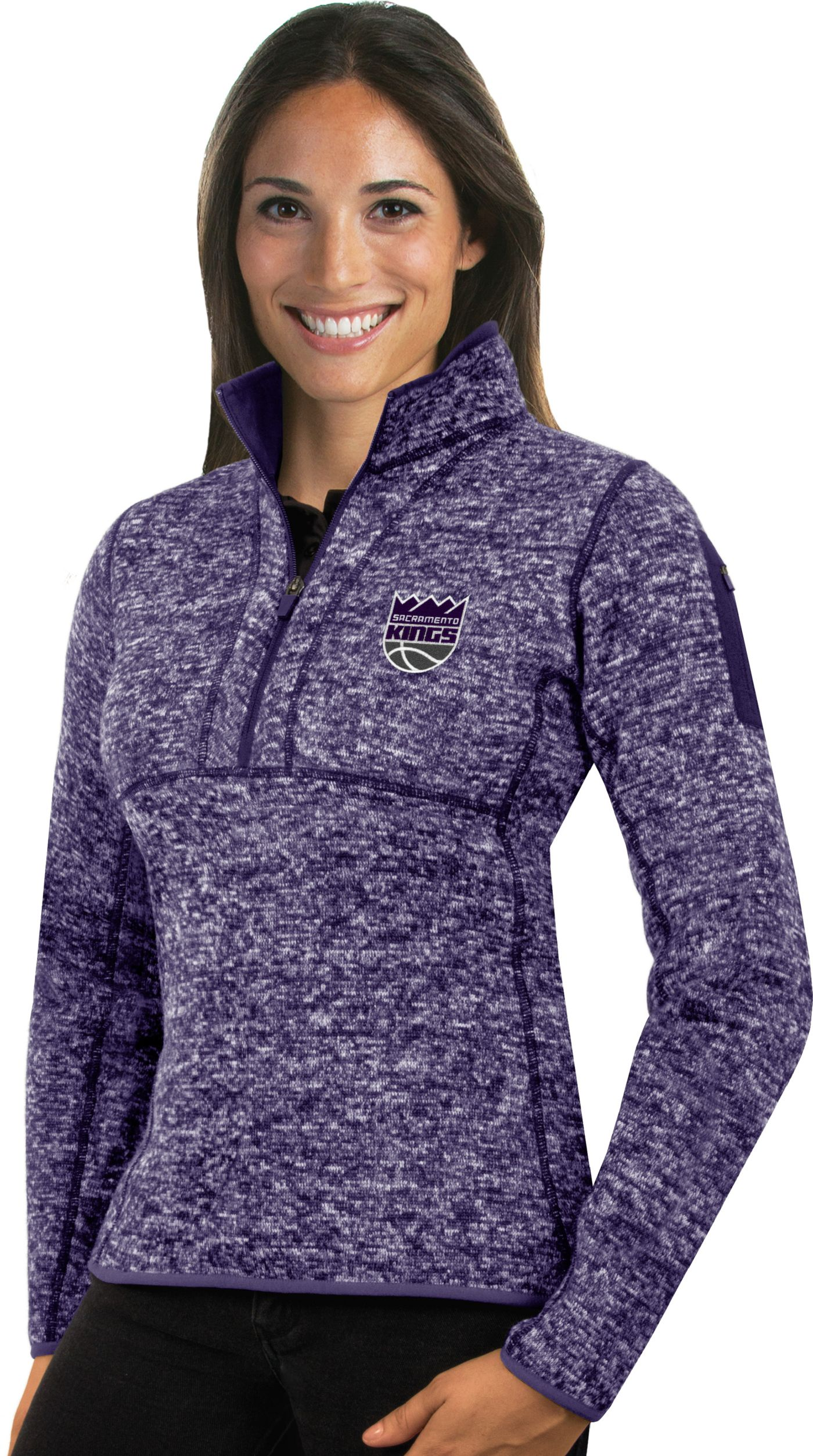 Antigua Women's Sacramento Kings Fortune Purple Half-Zip Pullover