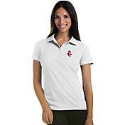 Antigua Women's Houston Rockets Xtra-Lite White Pique Performance Polo