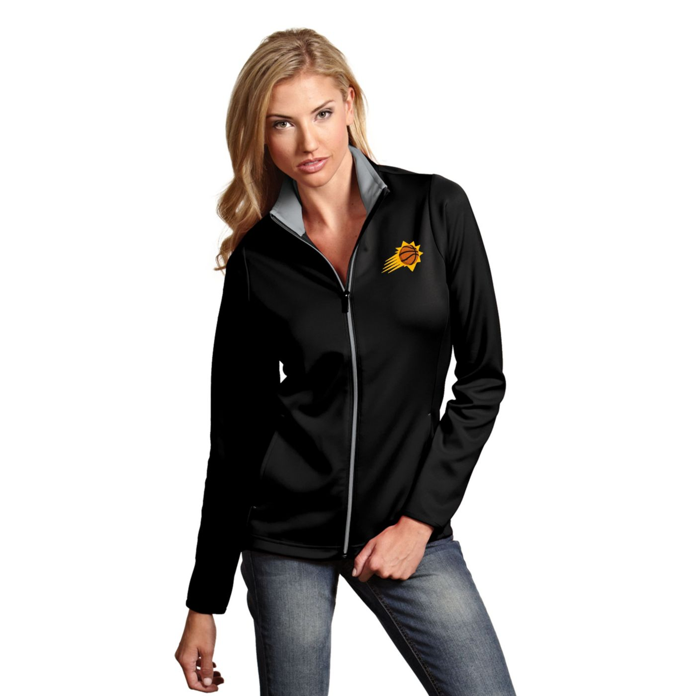 Antigua Women's Phoenix Suns Leader Black Full-Zip Fleece