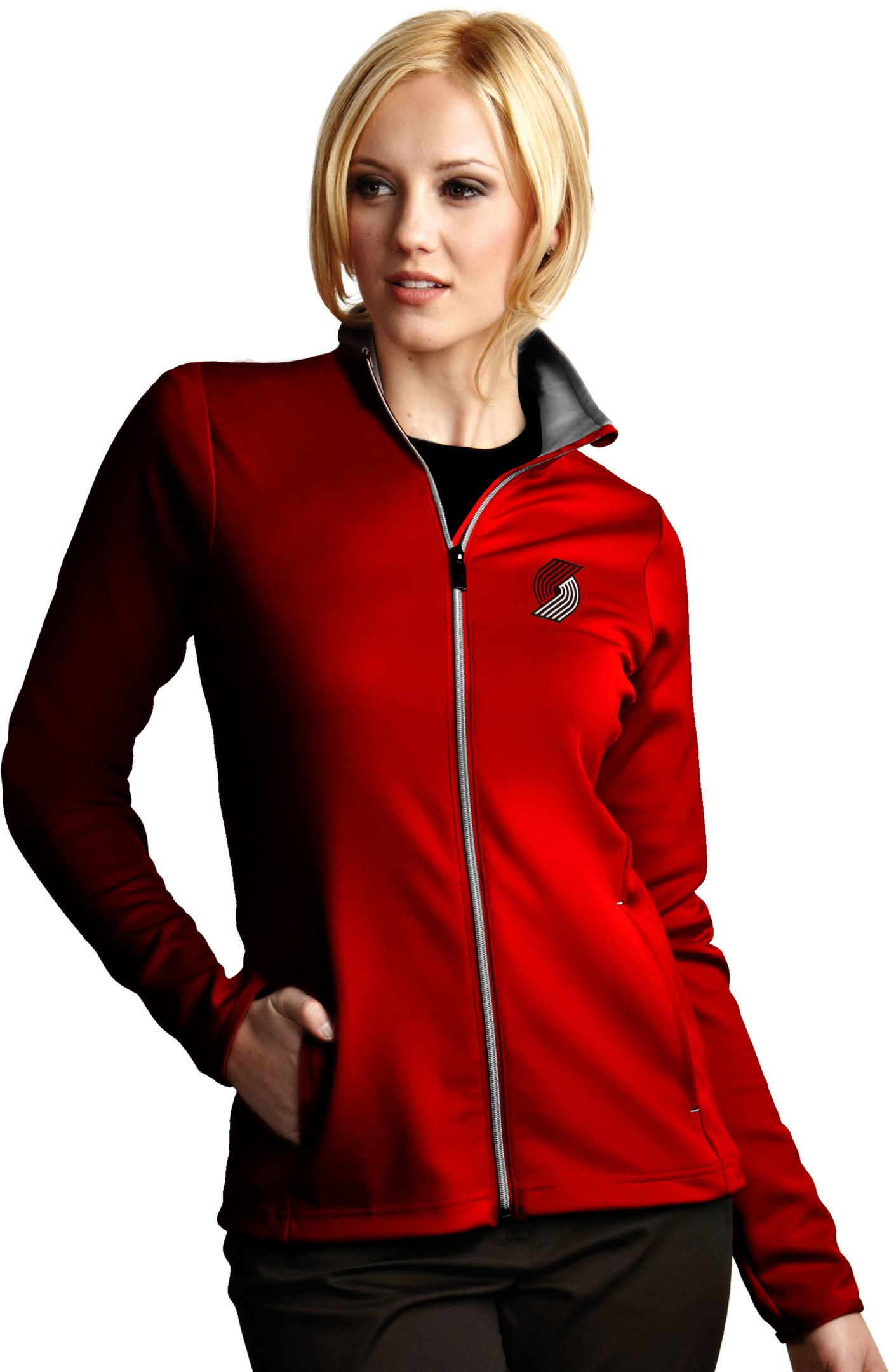 Antigua Women's Portland Trail Blazers Leader Red Full-Zip Fleece