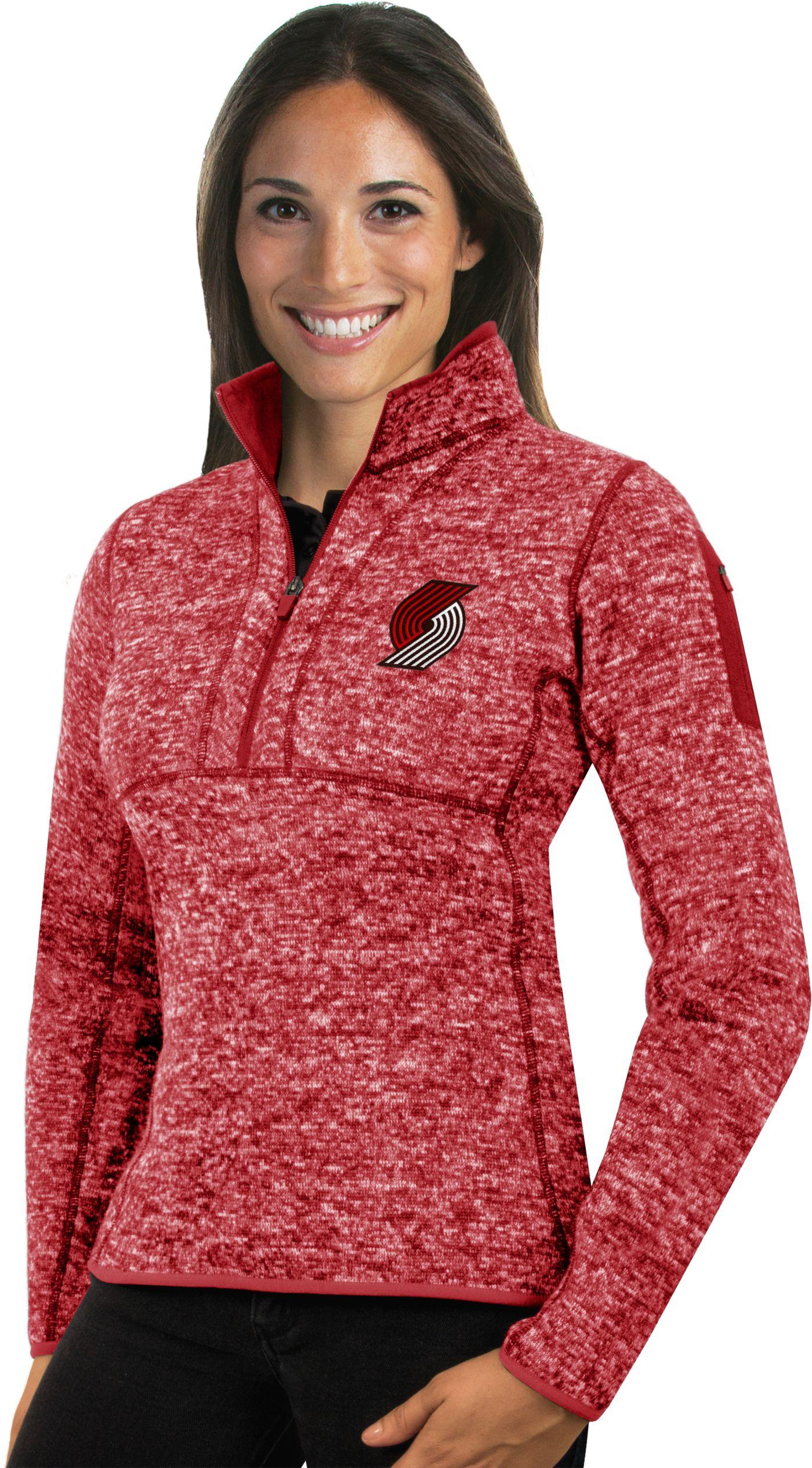 Antigua Women's Portland Trail Blazers Fortune Red Half-Zip Pullover
