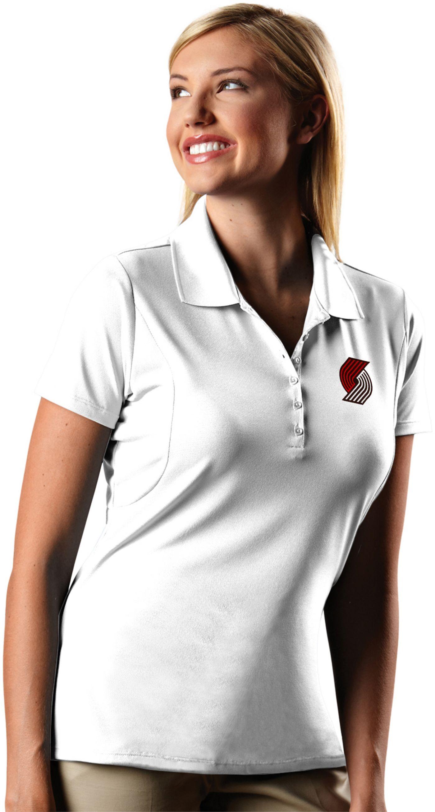 Antigua Women's Portland Trail Blazers Xtra-Lite White Pique Performance Polo