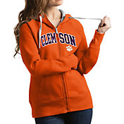 Antigua Women's Clemson Tigers Orange Victory Full-Zip Hoodie