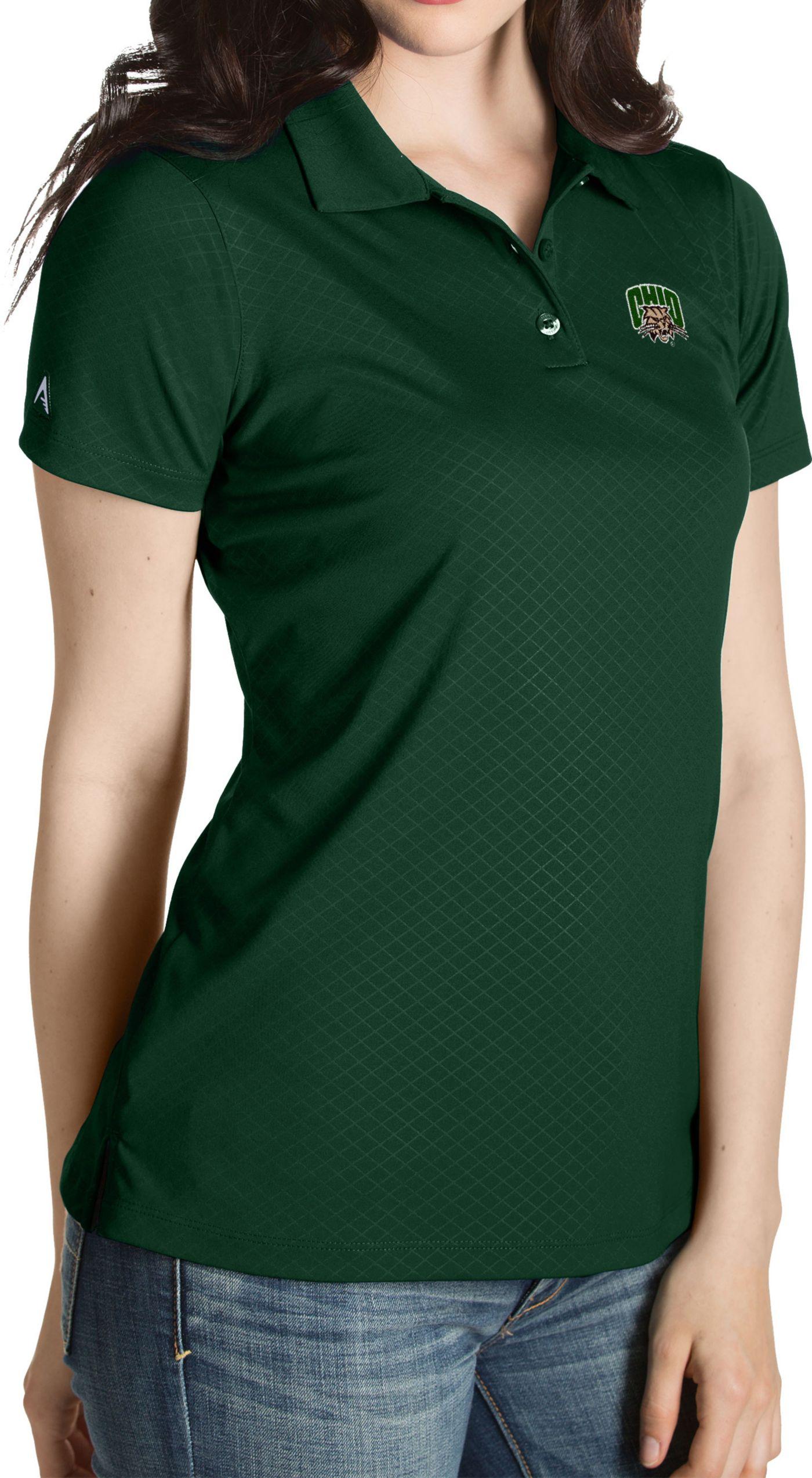 Antigua Women's Ohio Bobcats Green Inspire Performance Polo