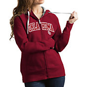 Antigua Women's Oklahoma Sooners Crimson Victory Full-Zip Hoodie