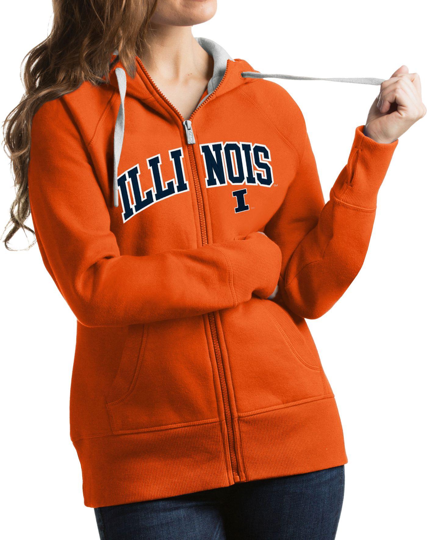 Antigua Women's Illinois Fighting Illini Orange Victory Full-Zip Hoodie