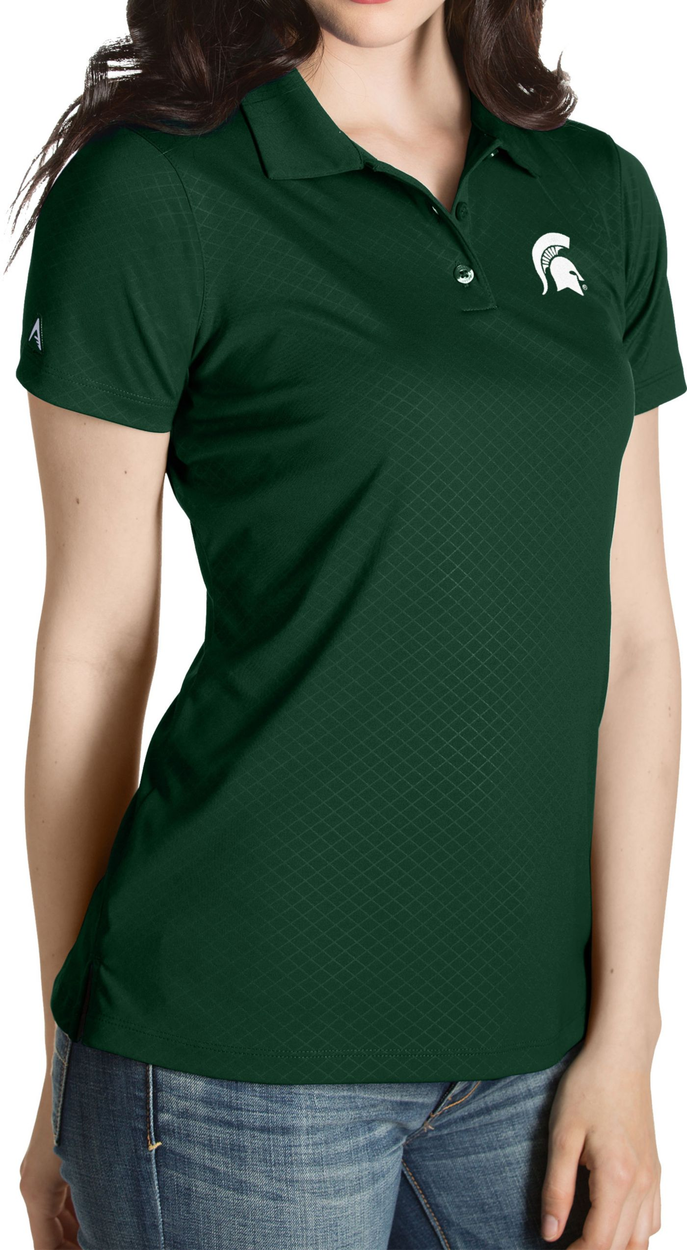 Antigua Women's Michigan State Spartans Green Inspire Performance Polo