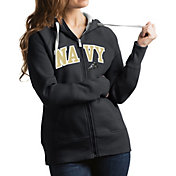 Antigua Women's Navy Midshipmen Grey Victory Full-Zip Hoodie