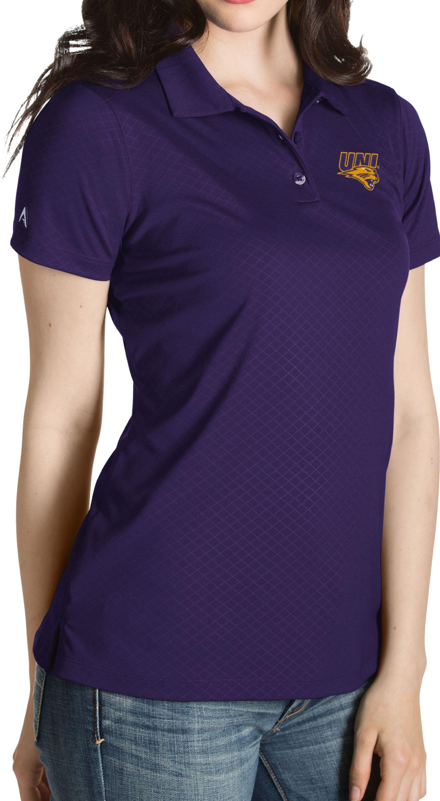 Antigua Women's Northern Iowa Panthers  Purple Inspire Performance Polo