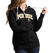 Antigua Women's Purdue Boilermakers Black Victory Full-Zip Hoodie