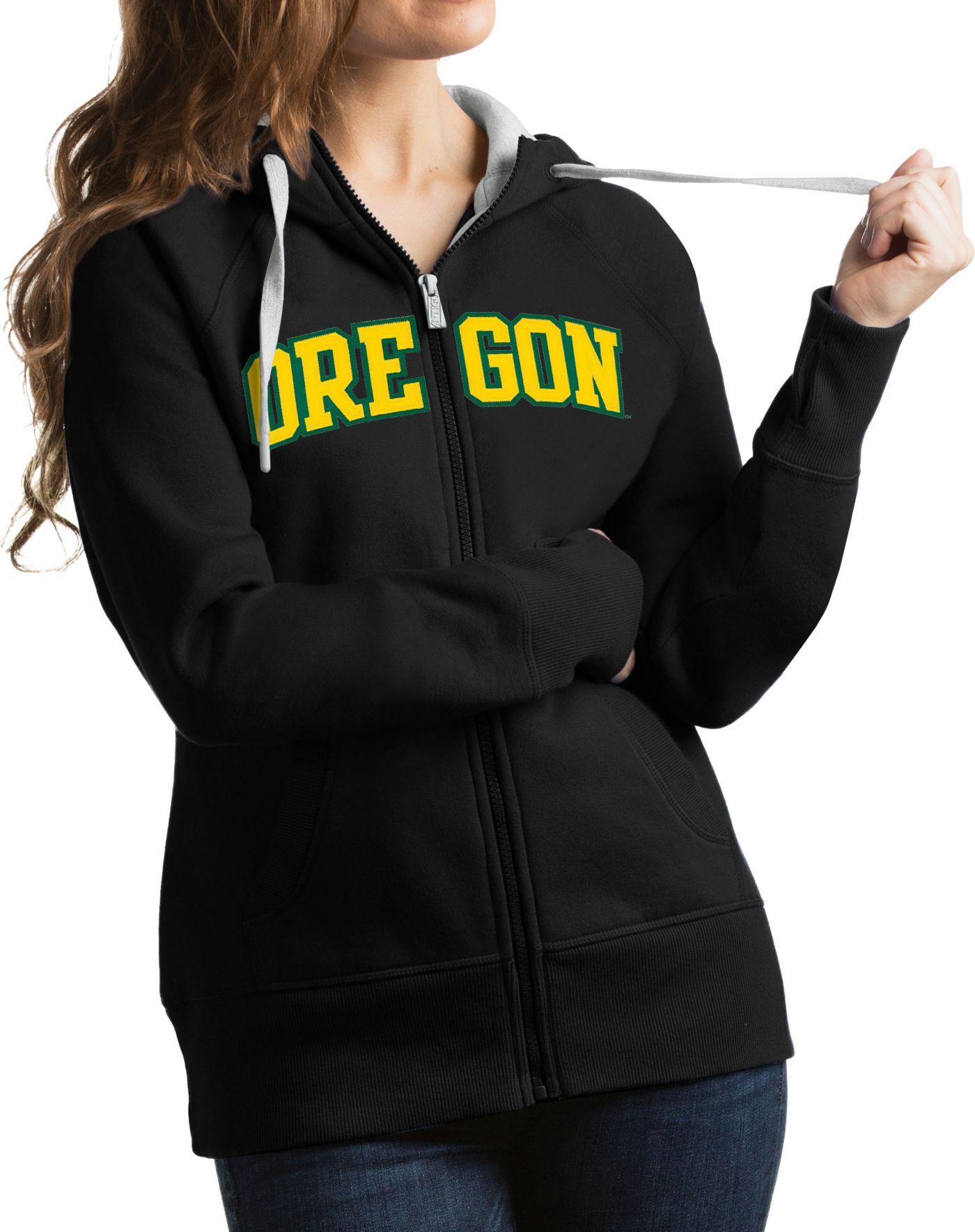 Antigua Women's Oregon Ducks Black Victory Full-Zip Hoodie
