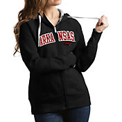 Antigua Women's Arkansas Razorbacks Black Victory Full-Zip Hoodie