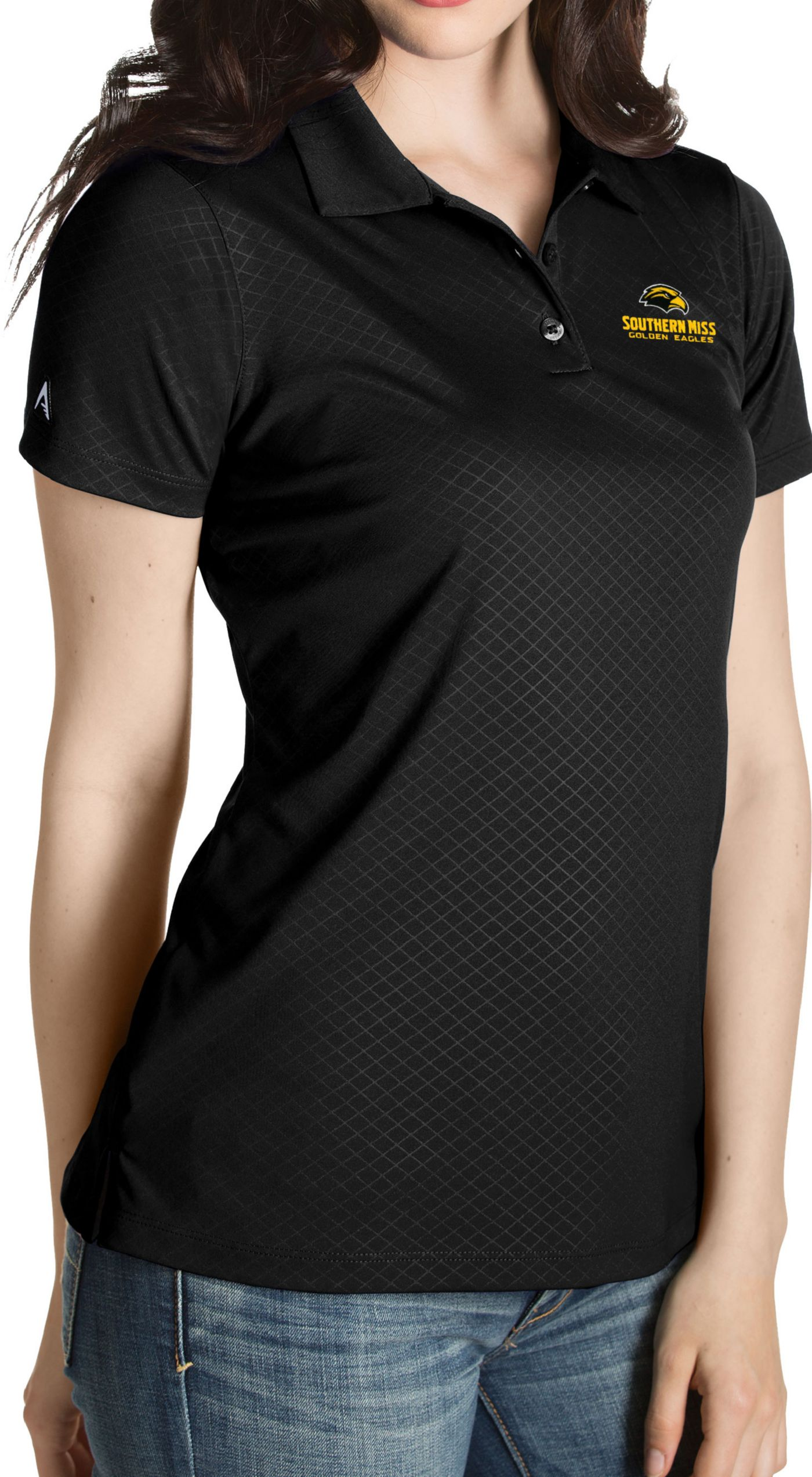 Antigua Women's Southern Miss Golden Eagles Black Inspire Performance Polo