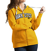 Antigua Women's Iowa Hawkeyes Gold Victory Full-Zip Hoodie
