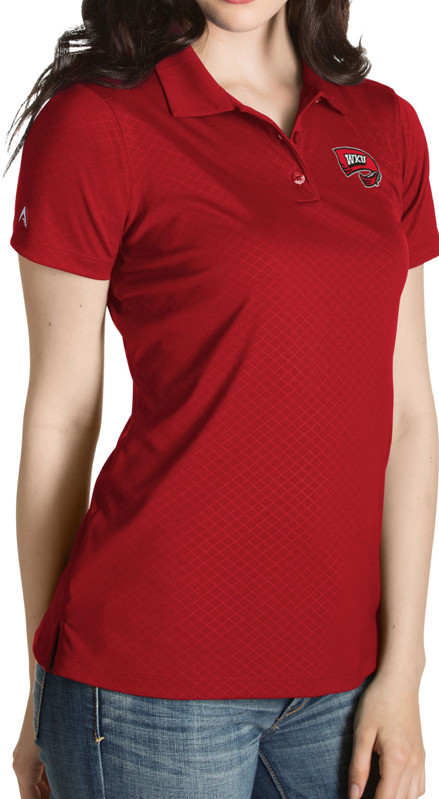 Antigua Women's Western Kentucky  Hilltoppers Red Inspire Performance Polo