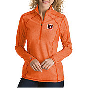 Antigua Women's Cincinnati Bengals Tempo Orange Quarter-Zip Pullover