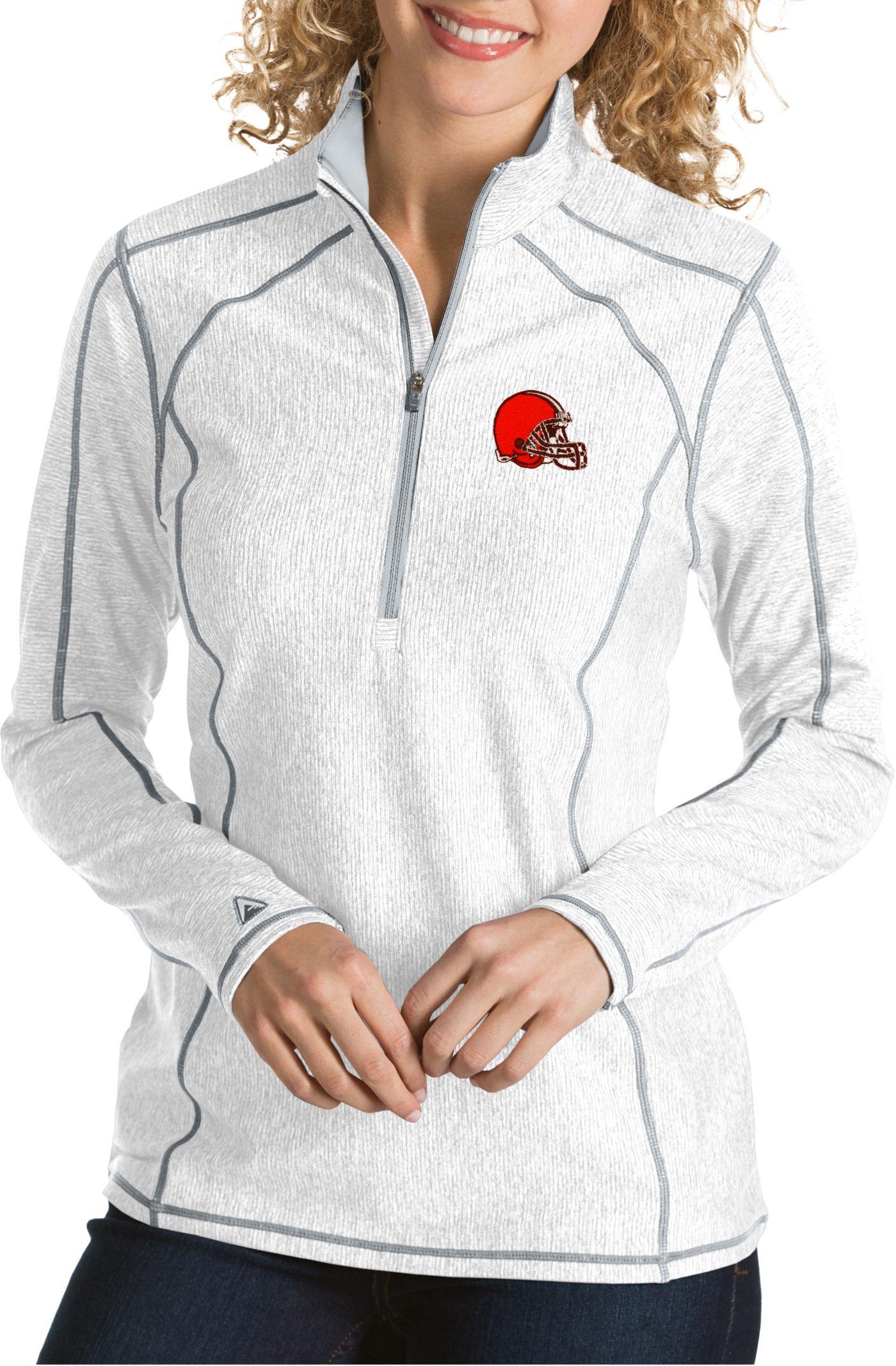 Antigua Women's Cleveland Browns Tempo White Quarter-Zip Pullover