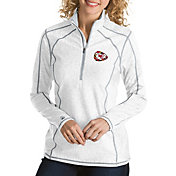 Antigua Women's Kansas City Chiefs Quick Snap Logo Tempo White Quarter-Zip Pullover