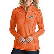 Antigua Women's Miami Dolphins Tempo Orange Quarter-Zip Pullover