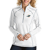 Antigua Women's Miami Dolphins Tempo White Quarter-Zip Pullover