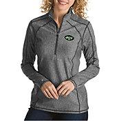 Antigua Women's New York Jets Tempo Grey Quarter-Zip Pullover