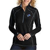 Antigua Women's Detroit Lions Tempo Black Quarter-Zip Pullover