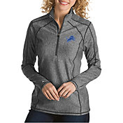 Antigua Women's Detroit Lions Tempo Grey Quarter-Zip Pullover