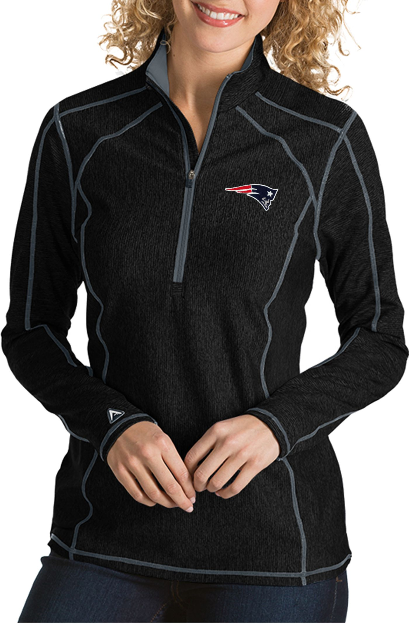 Antigua Women's New England Patriots Tempo Black Quarter-Zip Pullover