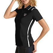 Antigua Women's Oakland Raiders Merit Black Xtra-Lite Pique Polo