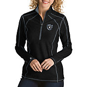 Antigua Women's Oakland Raiders Quick Snap Logo Tempo Black Quarter-Zip Pullover