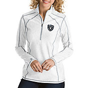 Antigua Women's Oakland Raiders Quick Snap Logo Tempo White Quarter-Zip Pullover