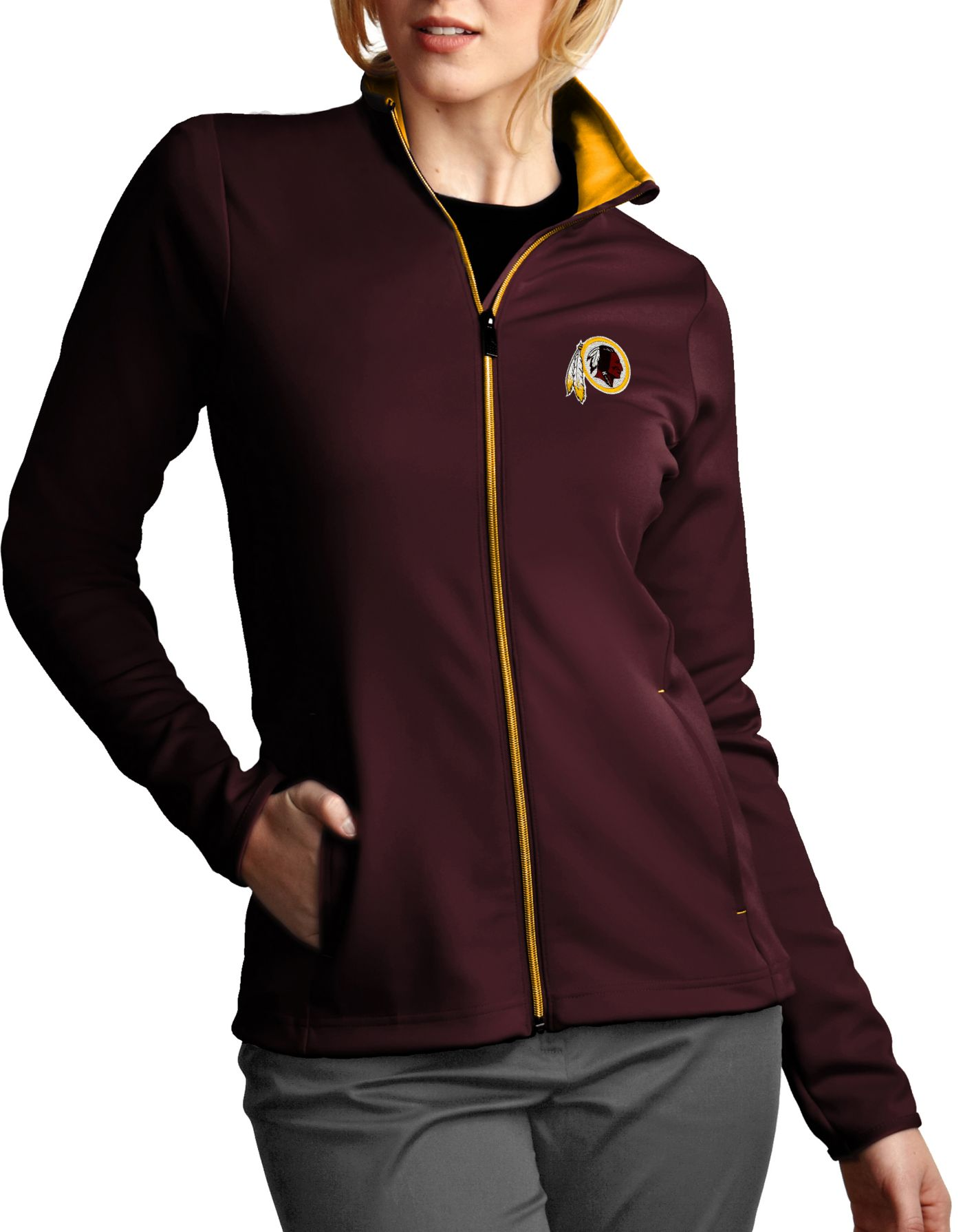 Antigua Women's Washington Redskins Leader Full-Zip Red Jacket