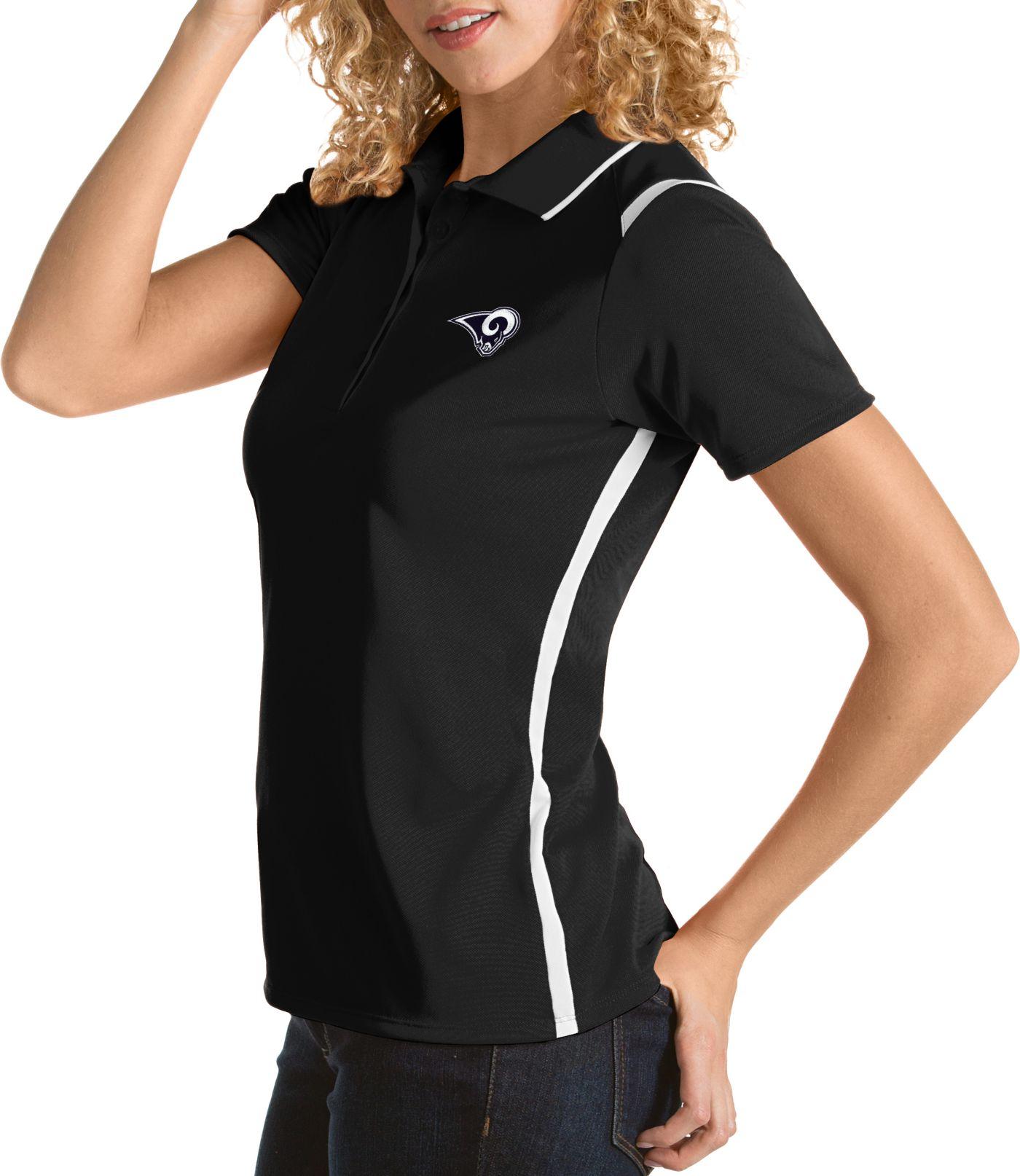 Antigua Women's Los Angeles Rams Merit Black Xtra-Lite Pique Polo