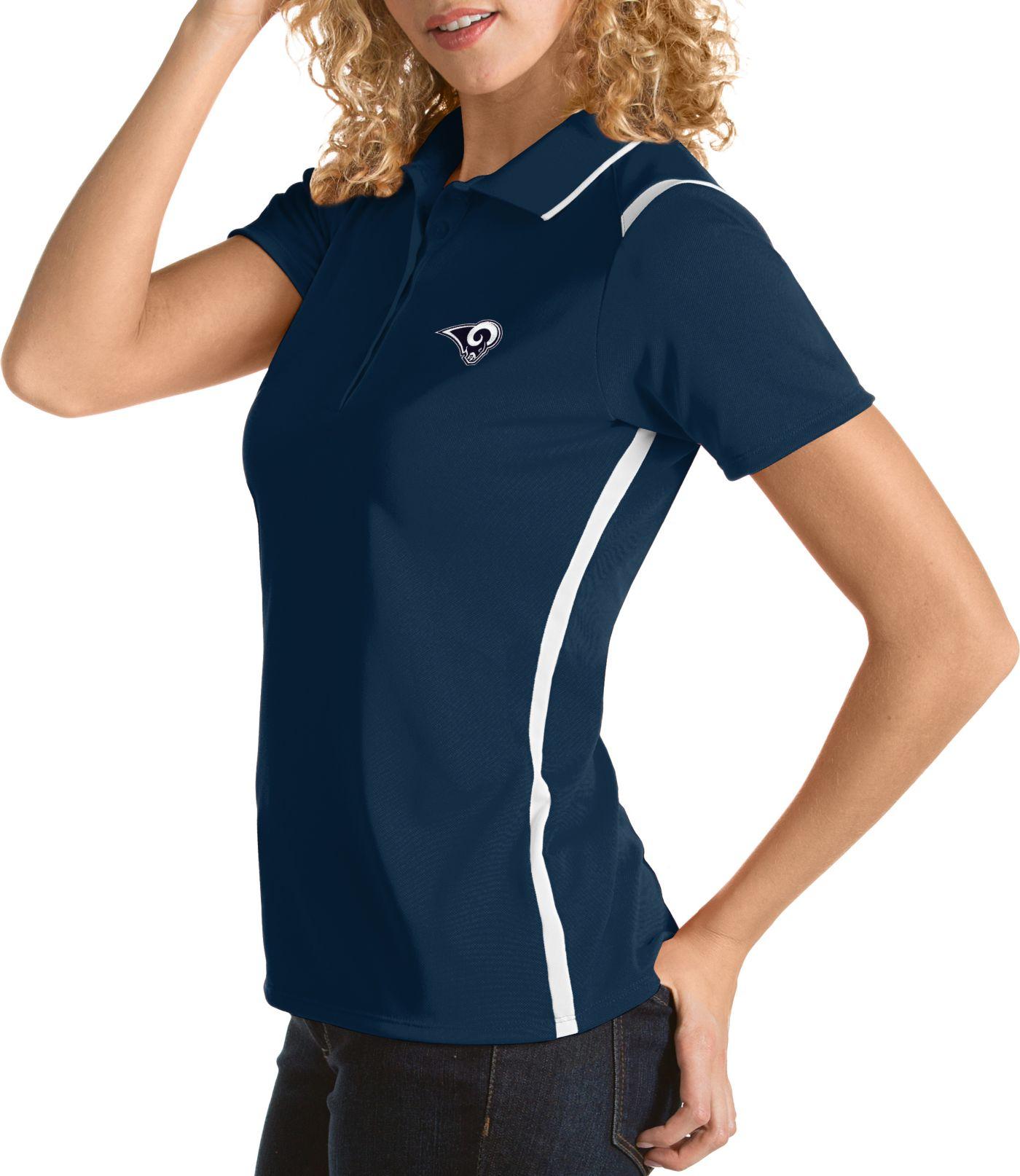 Antigua Women's Los Angeles Rams Merit Navy Xtra-Lite Pique Polo