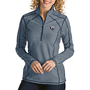 Antigua Women's Los Angeles Rams Tempo Navy Quarter-Zip Pullover